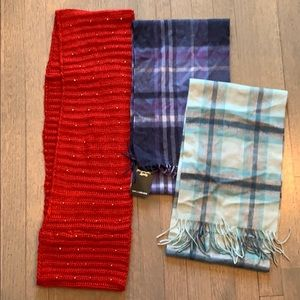 Scarf, red loop and 2 new cashmere plaid